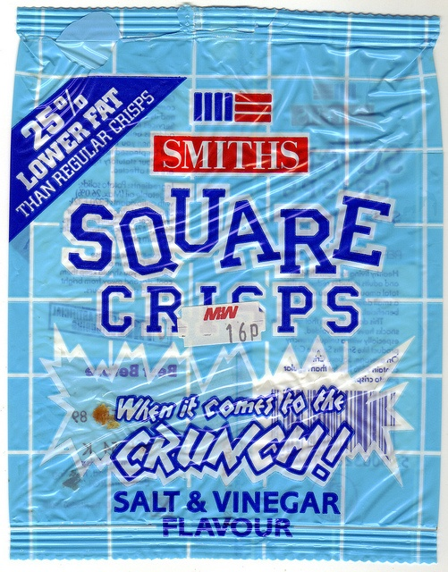 """Smiths Square Crisps, You have to remember the advert to the tune of 'Bobbies girl' it went """"we want to be SMITHS!! Crisps, we want to be SMITHS!! Crisps"""" with cartoon like potatoes uprooting from the earth and all boppin along to be made into crisps... Not as good as the Californian Rasins though"""