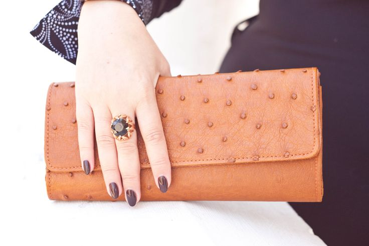natural ostrich leather clutch