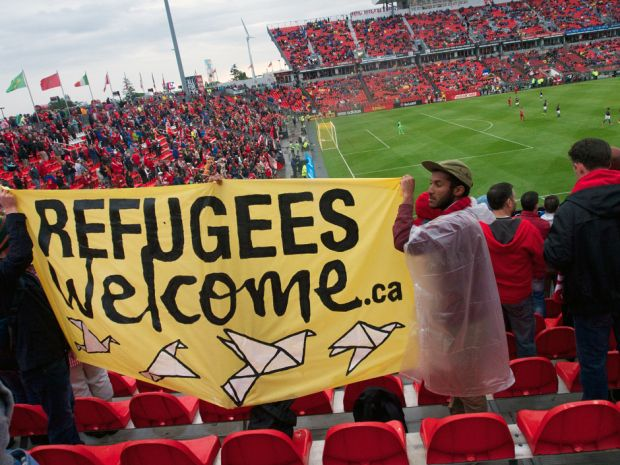 Unfortunately security Toronto FC Game were instructed to remove refugees welcome custom banner, despite fans being in the supporters section. #TFC.