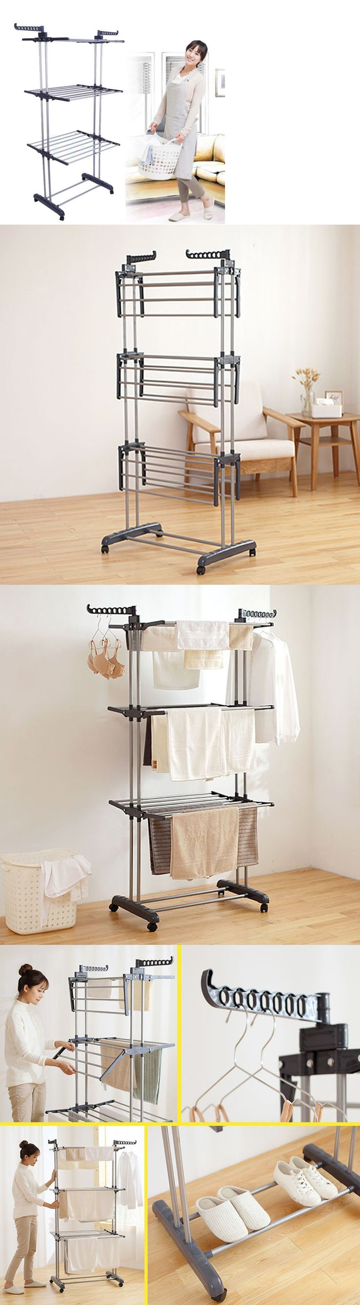 Clotheslines and Laundry Hangers 81241: 3Tier Stainless Laundry Organizer Folding Drying Rack Clothes Dryer Hanger Stand -> BUY IT NOW ONLY: $54.99 on eBay!