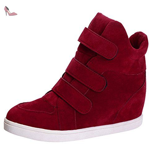 Oasap Femme Chaussure A Talons Compensés Velcro Plate-forme, Rouge EURO39/US7/UK5 - Chaussures oasap (*Partner-Link)