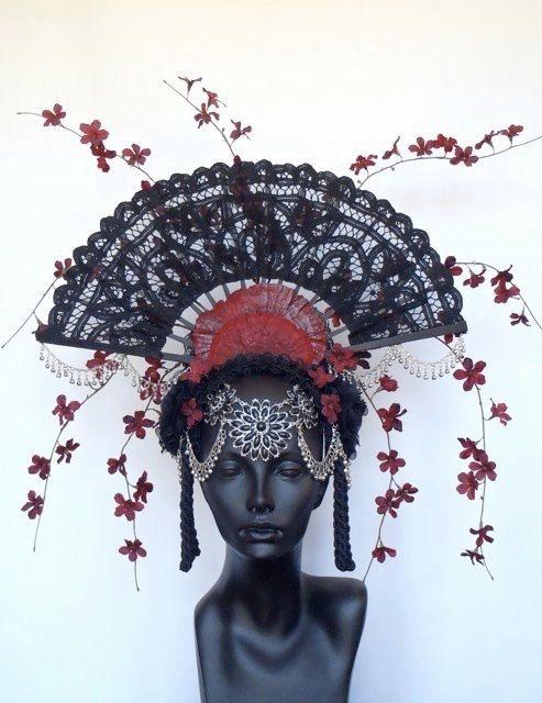 Fan and Flower Headdress by MissGDesignsShop