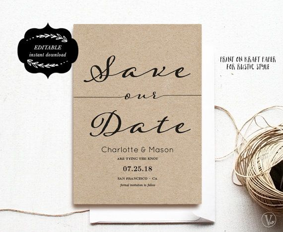 Modern Calligraphy Save the Date Template Printable by VineWedding