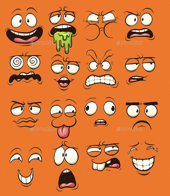 Download Free Graphicriver 	             Cartoon Faces            #angry #cartoon #cute #dizzy #emoticon #expression #face #gradient #happy #illustration #isolated #puking #reaction #sad #scared #shocked #shy #vector