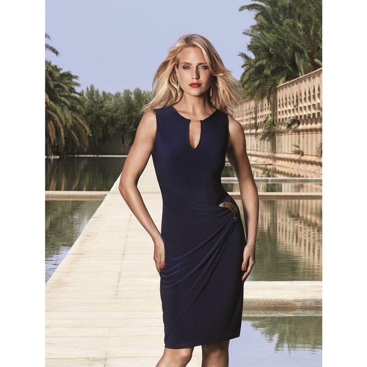 Joseph ribkoff blue and black dress