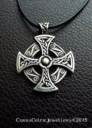 "044 Celtic Cross Head Pendant in Pewter 38mm (1-1/2"") high"