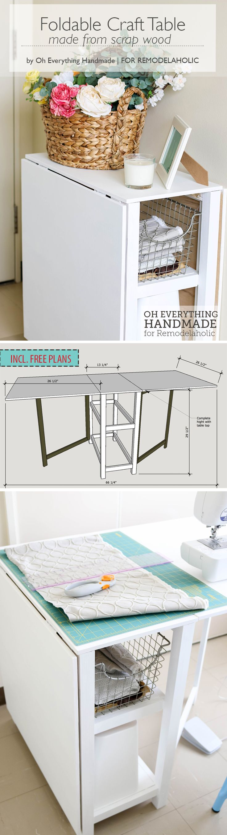 Make your small craft area work with this space-conscious DIY foldable  craft table,