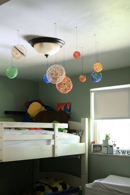 Embroidery thread soaked in glue/water and wrapped around balloons...turned into an AWESOME solar system decoration for a kids room! =>like the solar system spin on this concept....Hmmm, maybe make for E