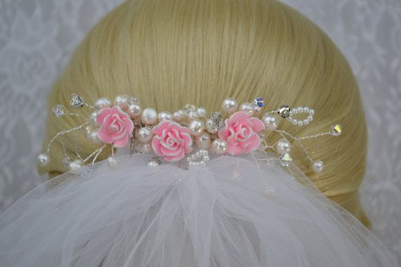 Pink Rose and Pearl Wedding Veil Comb