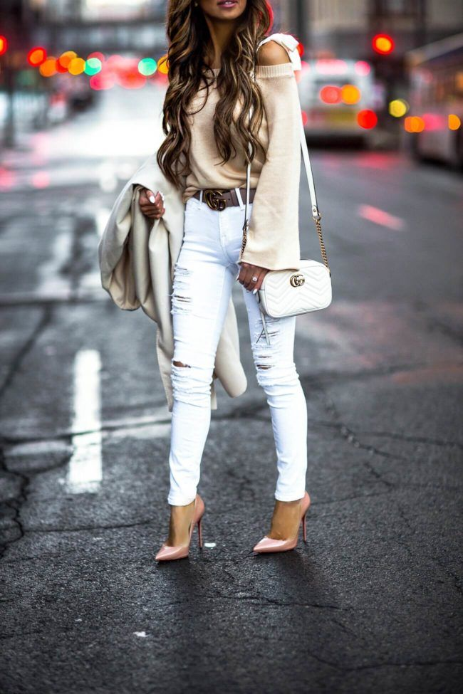 e67647181 26 JAN, 2018 This Affordable Coat Will Instantly Elevate Your Winter Look -  Outfit Details: Waterfall Coat Tie Shoulder Sweater White Distressed Denim  Gucci ...