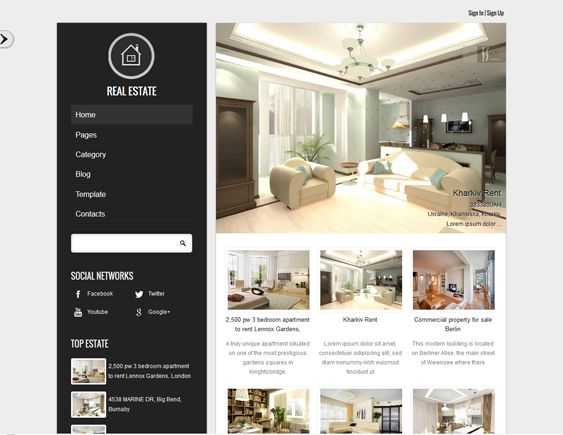 This Joomla real estate template offers a responsive layout, demo content, a Bootstrap framework, search, slideshow, map, and top listing modules, cross-browser compatibility, a clean design, and more.