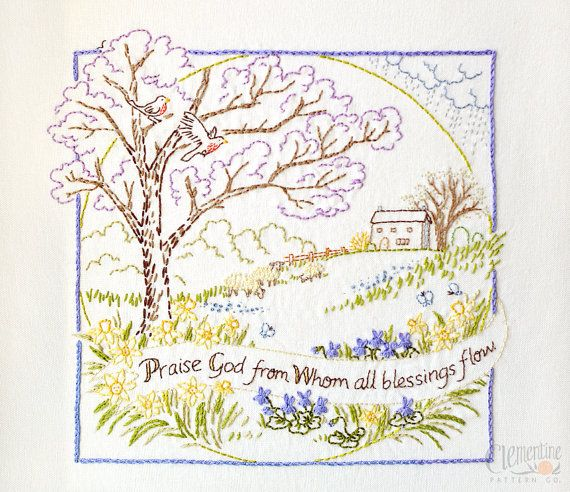 Praise God 100 Cotton Embroidery Pattern by ClementinePatterns