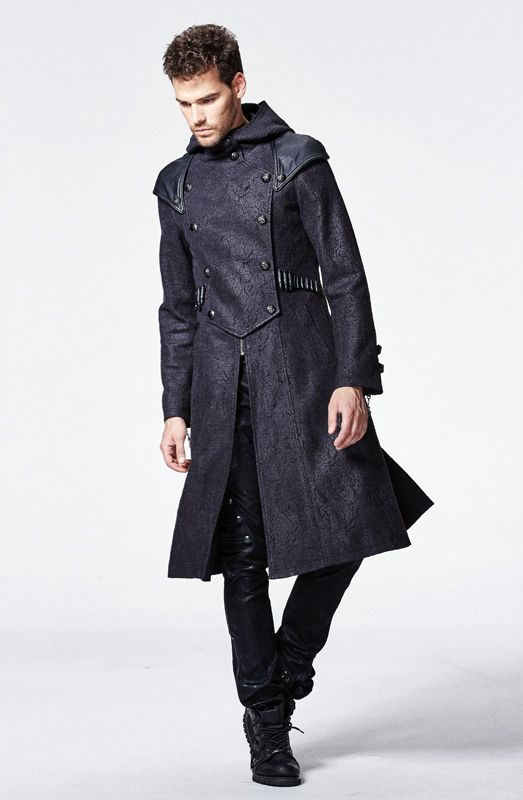 Manteau gothique punk steampunk craquelé cartouches capuche Punkrave homme