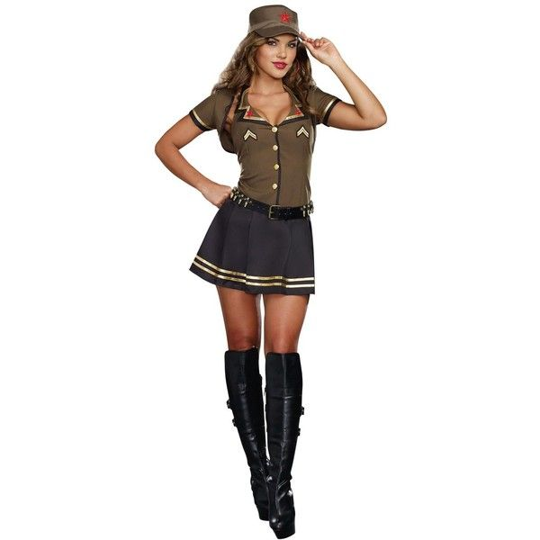Adult Army Brat Costume ($60) ❤ liked on Polyvore featuring costumes, halloween costumes, white shrug, army halloween costumes, army costume, adult halloween costumes and military fashion