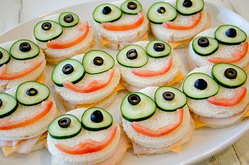 Sandwiches de monstruos para una fiesta temática de monstruos o de Monsters University. #FiestasInfantiles