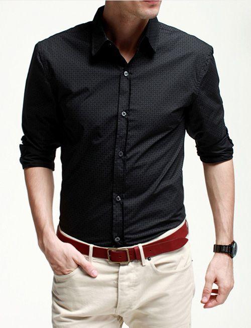 Long Sleeve Stylish Pattern Printed Shirt in Slim Fit Design-cool shirt, men's fashion, basic shirt, shirt for men