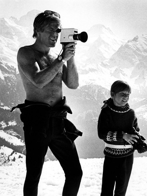 Robert Redford with daughter Shauna on location for movie Downhill Racer