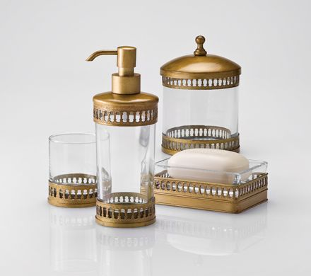 Top 25 ideas about gorgeous gold bath accessories on for Gold glass bathroom accessories