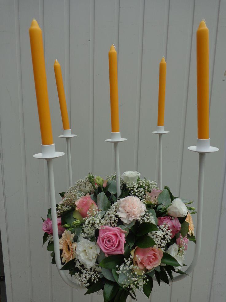 retro kandelaar - medium uitvoering - oranje kaarsen