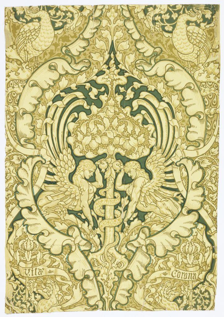 "Walter Crane wallpaper, 1890, ""Corona Vita"""