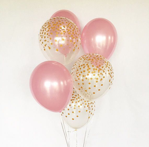 Pink and Gold Latex Balloons~Pink and Gold First Birthday~Baby Shower Girl Birthday Party~ Baby Pink Balloons~Gold Confetti Look Balloon