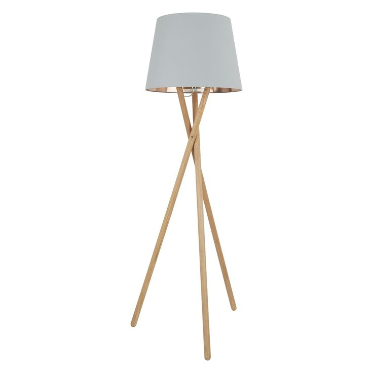 LANSBURY Ash tripod floor lamp with grey and bronze shade