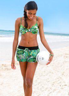 Пляжные шорты, bpc bonprix collection, зеленый с рисунком