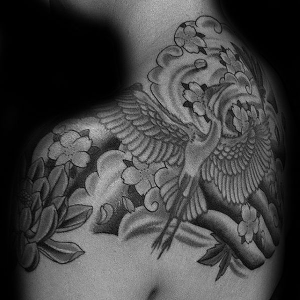 Shaded Flying Bird Crane Mens Japanese Upper Back Tattoo Crane Tattoo Tattoo Designs Men Japanese Tattoo