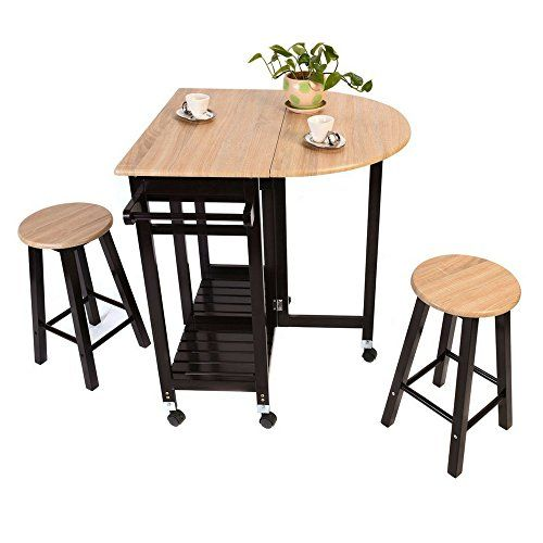 Counter Height Folding Table With Stools Drawers Wooden Tabletop Bar Cart Flip Up Counter Portable F Drop Leaf Table Wood Kitchen Island Kitchen Island Table