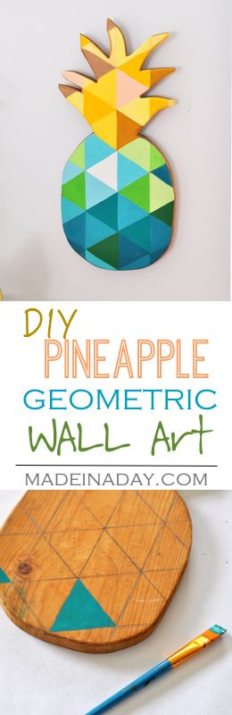 DIY Painted Geometric Pineapple, learn to paint a geometric pattern on a wood cutting board for DIY Spring Refresh wall art, tutorial on madeinaday.com