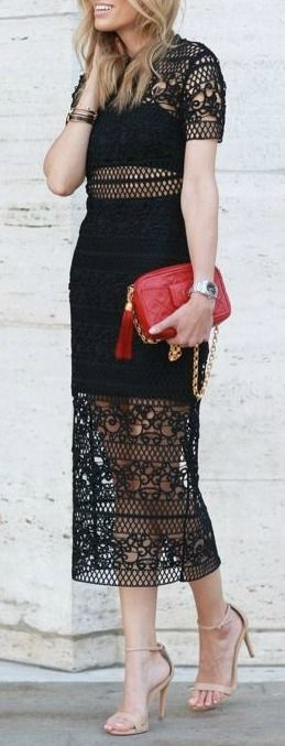Black lace midi dress.