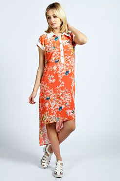 Leah Oriental Flower Shirt Dress at boohoo.com