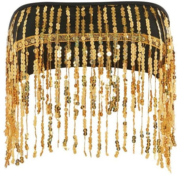 Gold Sequin Fringe Crop Top by Jaded London ($47) ❤ liked on Polyvore featuring tops, gold, white party tops, going out tops, white bandeau top, sequined top and fringe crop top