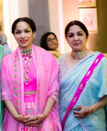 Sangeet - Neena Gupta in powder blue sari with pink border - Masaba Gupta and Madhu Mantena Wedding 2015