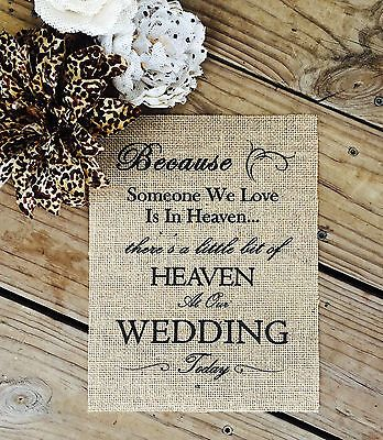 "8""x10"" Rustic Country Burlap Wedding Sign IN LOVING MEMORY THOSE WE LOVE"
