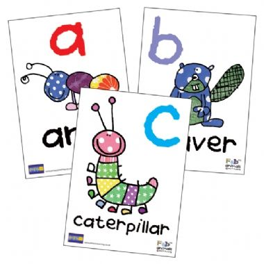 Pack of 26 A5 Fabric Animals Alphabet Cards