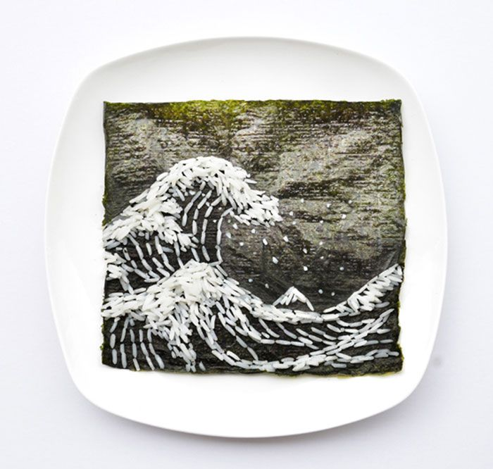 Artist 'Red' Hong Yi uses food as his medium in these creative masterpieces. This ocean wave was created entirely from long-grain rice and nori.