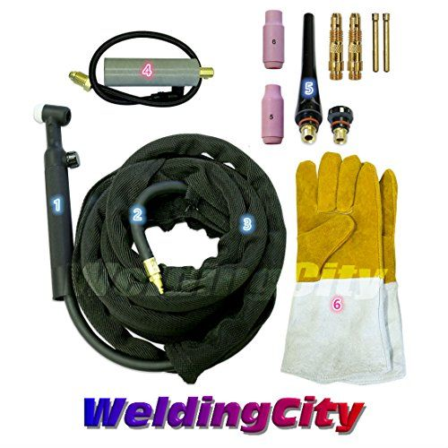 Cheap WeldingCity TIG Welding Torch 26V-25R (Gas-Valve Head) Complete Ready-to-Go Package for Miller Welder Air-Cool 25-foot Cable 200Amp w/ Gloves deals week