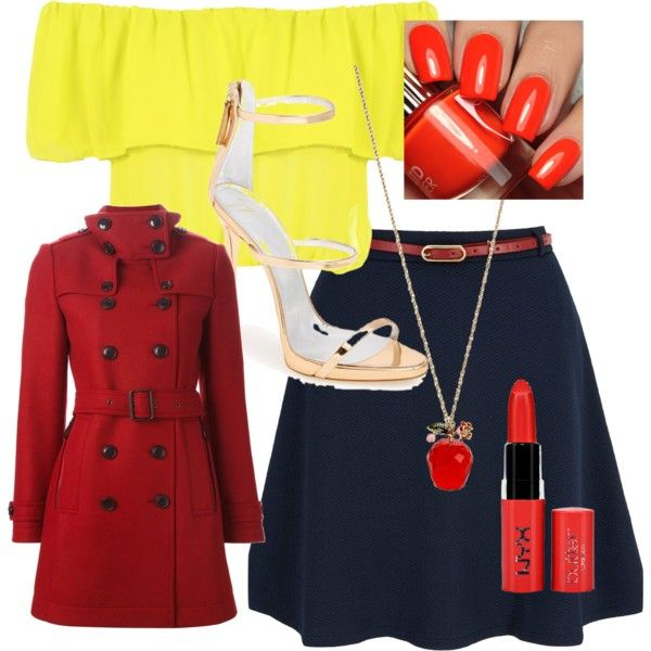 Snow white by rowniezhao on Polyvore featuring polyvore, fashion, style, WearAll, Burberry, Yumi, Giuseppe Zanotti and Betsey Johnson