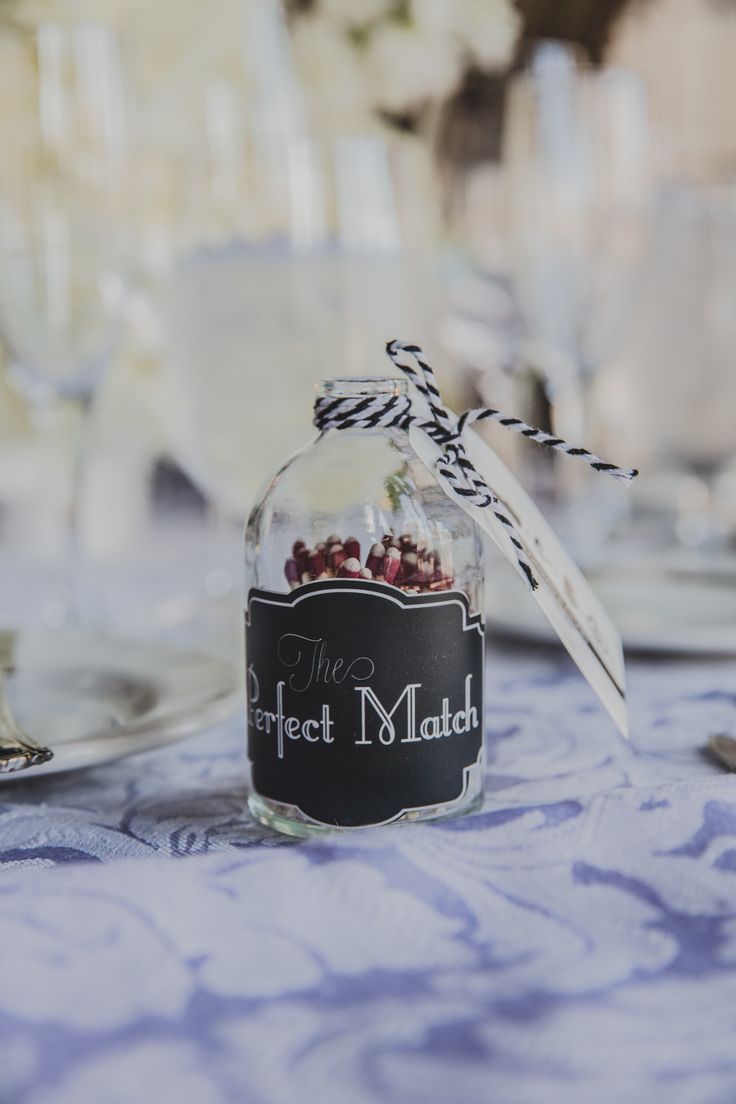 "Their Wedding Favour - ""The Perfect Match"" Little bottle jar filled with matches, very sweet. http://www.fusion-events.ca/"