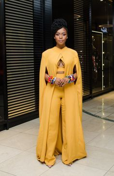 Nomzamo Mbatha. South African. 10th edition of the SA Style Awards. 2015. African Fashion. South African Beaded Bangles.