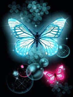 Pretty Blue & Pink Butterflies. Bubbles.