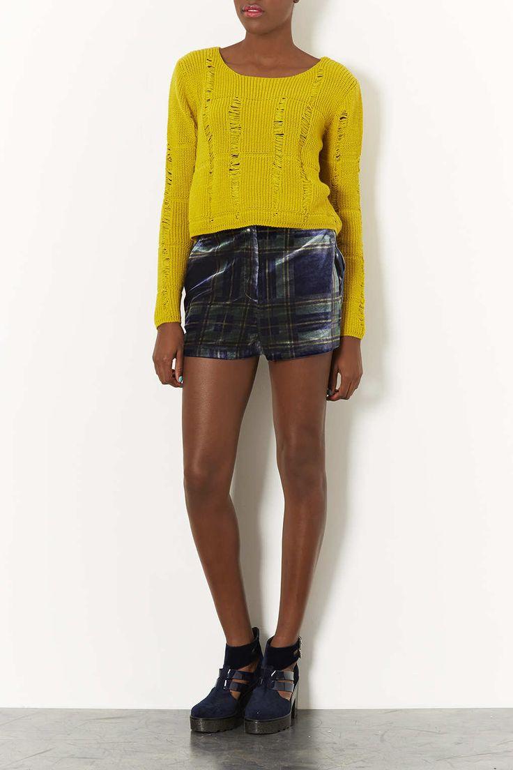 Navy Check Velvet Shorts - Shorts - Clothing - Topshop