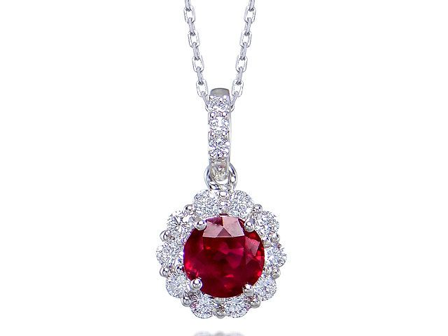 Luxurious Red Ruby & Diamond 18ct White Gold pendant (incl chain) by StartJewellery on Etsy