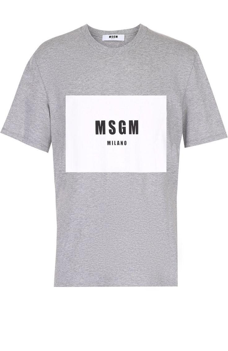 Мужская серая хлопковая футболка с контрастным принтом MSGM, сезон SS 2017, арт. 2240MM83/174296 купить в ЦУМ | Фото №1