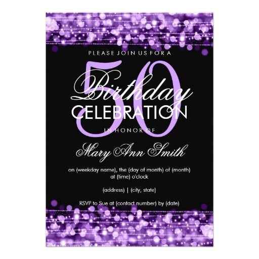 47 best 50th birthday invitations images on pinterest 50 birthday elegant 50th birthday party sparkles purple invitation stopboris Gallery