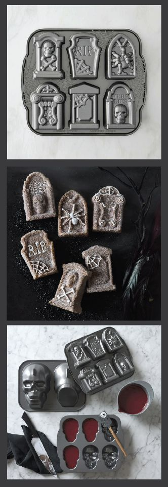 Halloween Tombstone Cakelet Pan Halloween party guests will stop dead in their tracks when they see the intricate tombstone-shaped cakelets this pan creates. From spider webs to skulls and crossbones, the details on all six cakelets will shock and delight – whether dusted with confectioner's sugar or finished with a gory glaze. (affiliate)