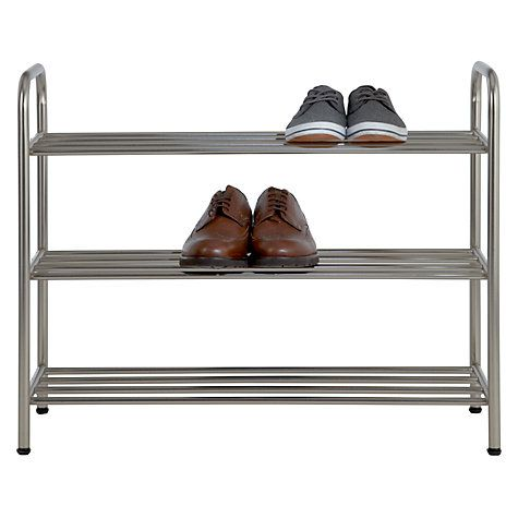 buy john lewis brushed metal 3 tier shoe rack from our shoe racks u0026 organisers range at john lewis