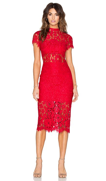 Alexis Leona Dress in Red Lace | REVOLVE make up with red lace dress