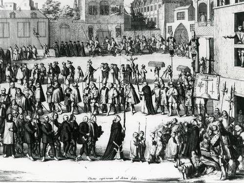 O mito sobre a origem de sobrenomes de judeus convertidos. Imagem: 'Caminhada dos prisioneiros para o auto de fé', de A. Shoonebeck. Reprodução. O Globo.